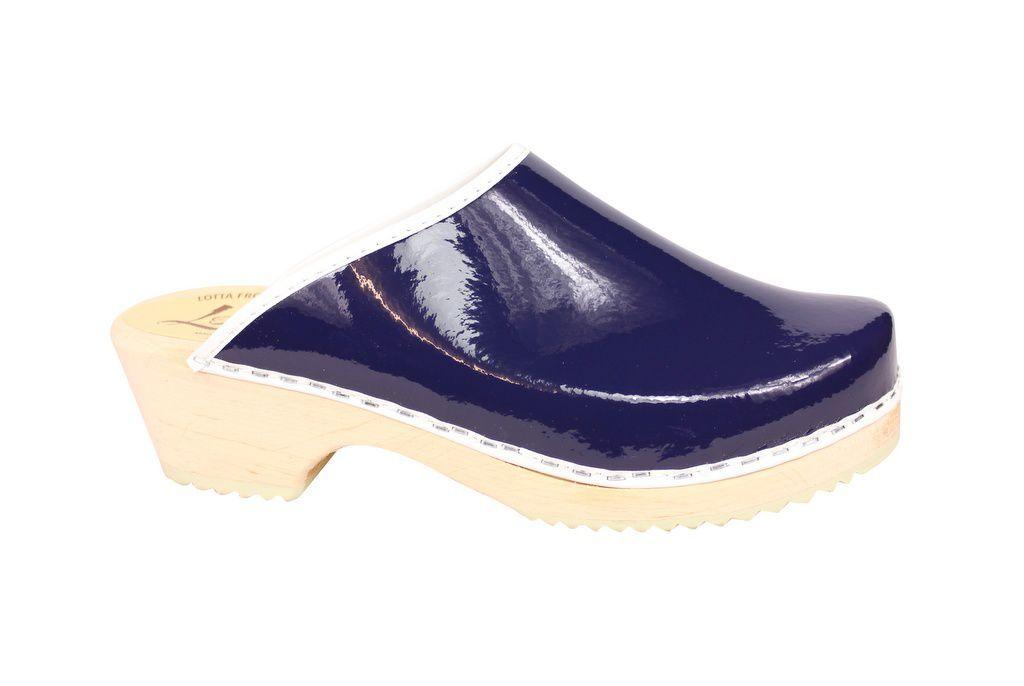 classic retro patent blue clogs side