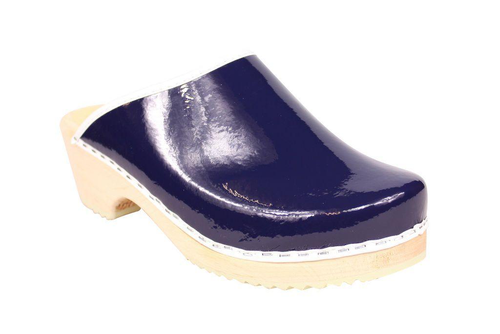 classic retro patent blue clogs main