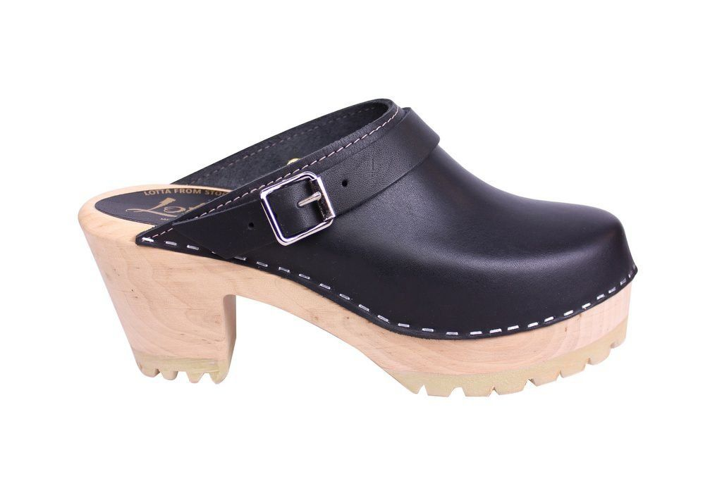 Lotta From Stockhom High Clog WIth Tractor Heel and Moveable strap in Black Leather side 3