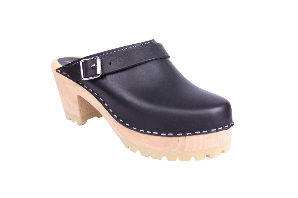 Lotta From Stockhom High Clog WIth Tractor Heel and Moveable strap in Black Leather main