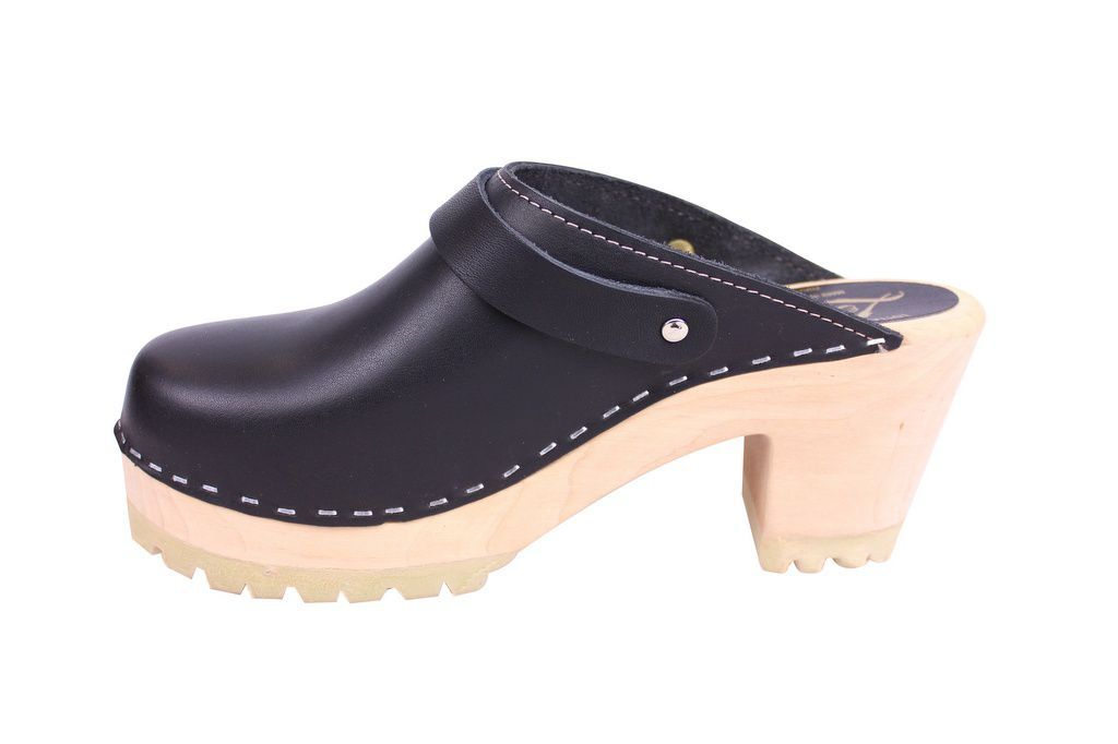 Lotta From Stockhom High Clog WIth Tractor Heel and Moveable strap in Black Leather rev side