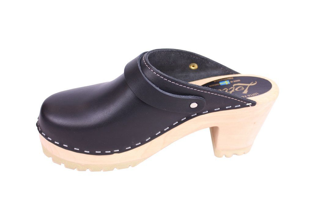 Lotta From Stockhom High Clog WIth Tractor Heel and Moveable strap in Black Leather rev side 3