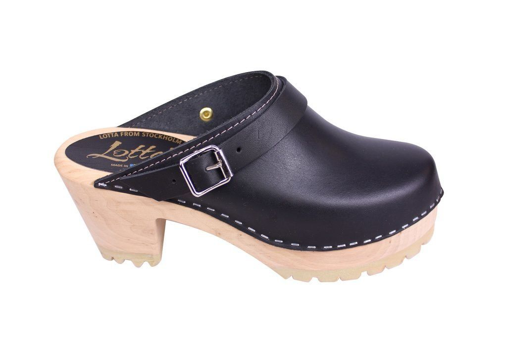 Lotta From Stockhom High Clog WIth Tractor Heel and Moveable strap in Black Leather side 2