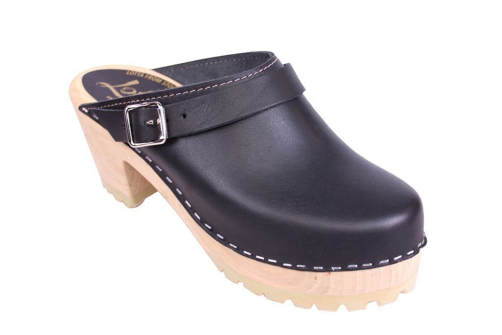 Lotta From Stockhom High Clog WIth Tractor Heel and Moveable strap in Black Leather