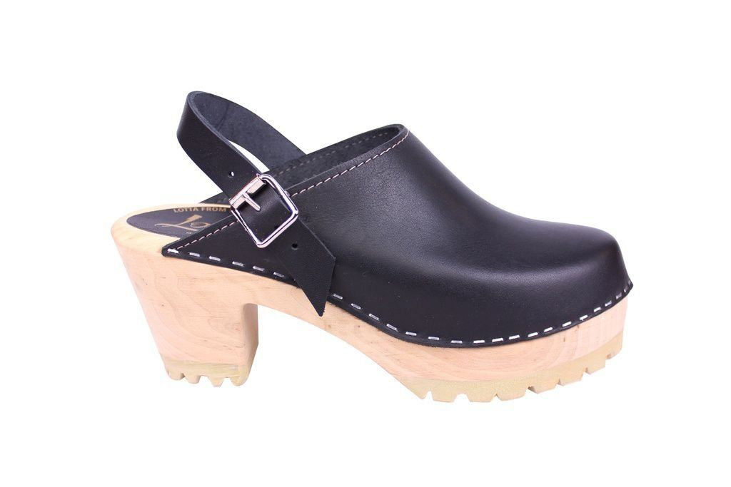 Lotta From Stockhom High Clog WIth Tractor Heel and Moveable strap in Black Leather side