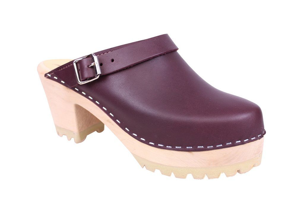 Lotta From Stockholm High Clog with Tractor Sole and moveable strap in aubergine leather main