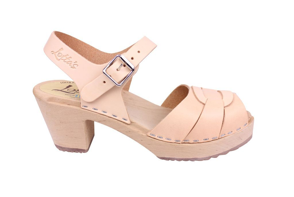 Lotta From Stockholm Peep Toe Clog in Natural LeatherLotta From Stockholm Peep Toe Clog in Natural Leather Side