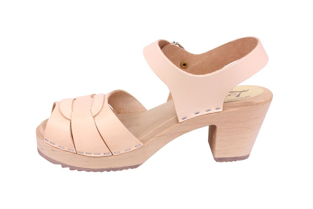 Lotta From Stockholm Peep Toe Clog in Natural Leather Rev Side
