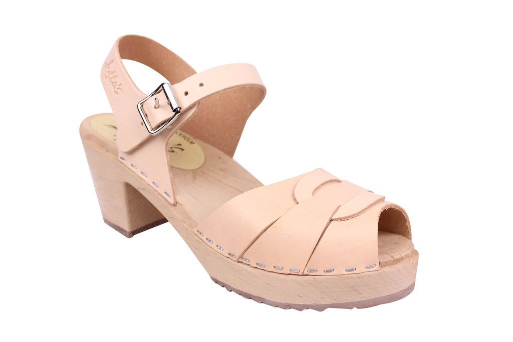 Lotta From Stockholm Peep Toe Clog in Natural Leather Main