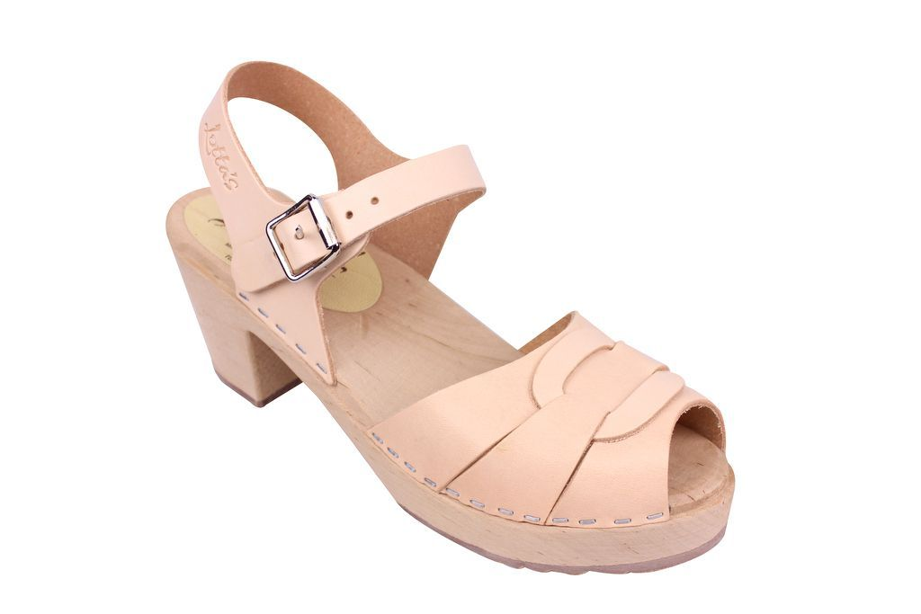 Lotta From Stockholm Peep Toe Clog in Natural Leather
