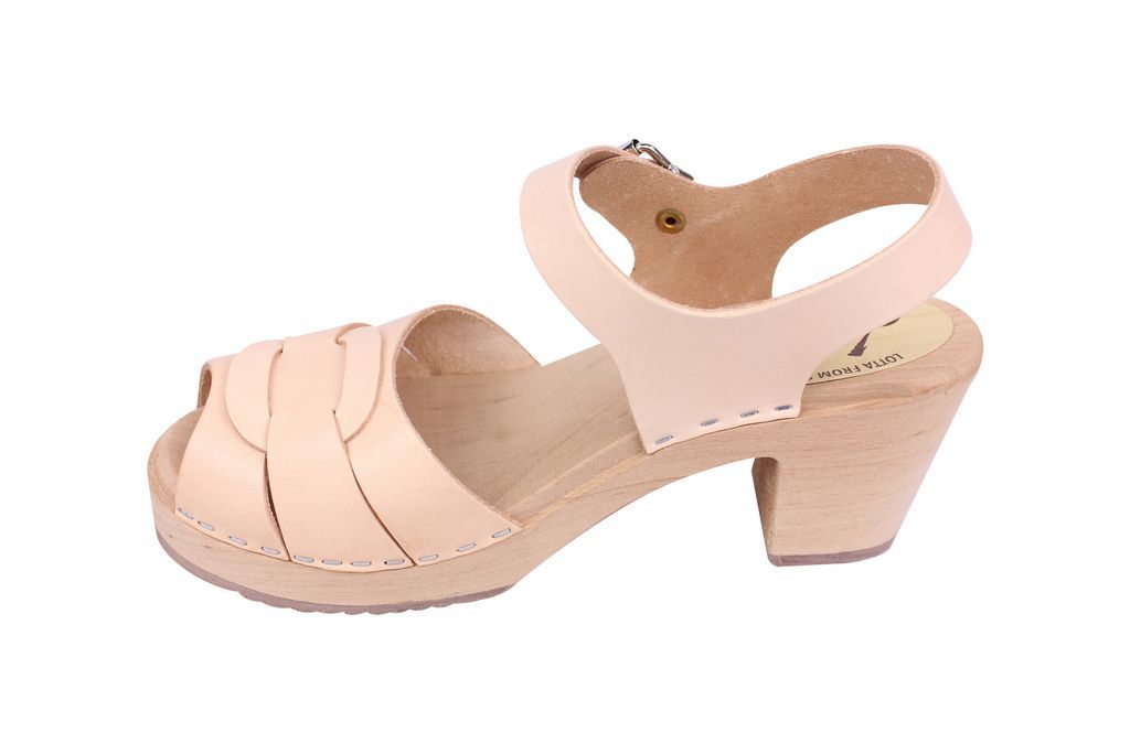 Lotta From Stockholm Peep Toe Clog in Natural Leather Rev Side 2