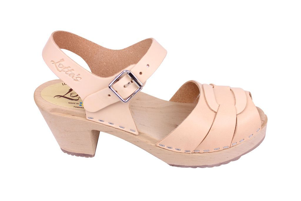 Lotta From Stockholm Peep Toe Clog in Natural Leather Side 2