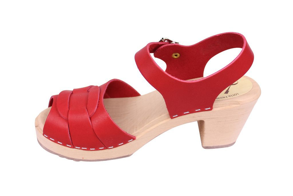 Lotta From Stockholm Peep Toe in Steel Red Leather Rev Side 2