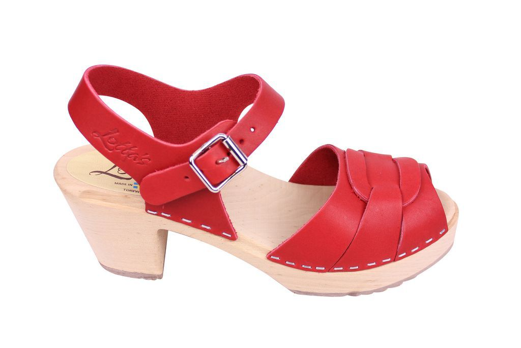 Lotta From Stockholm Peep Toe in Steel Red Leather Side 2