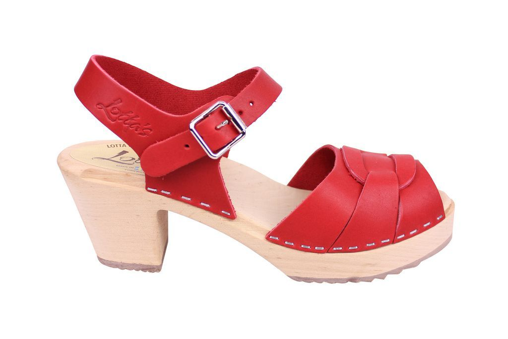 Lotta From Stockholm Peep Toe in Steel Red Leather Side
