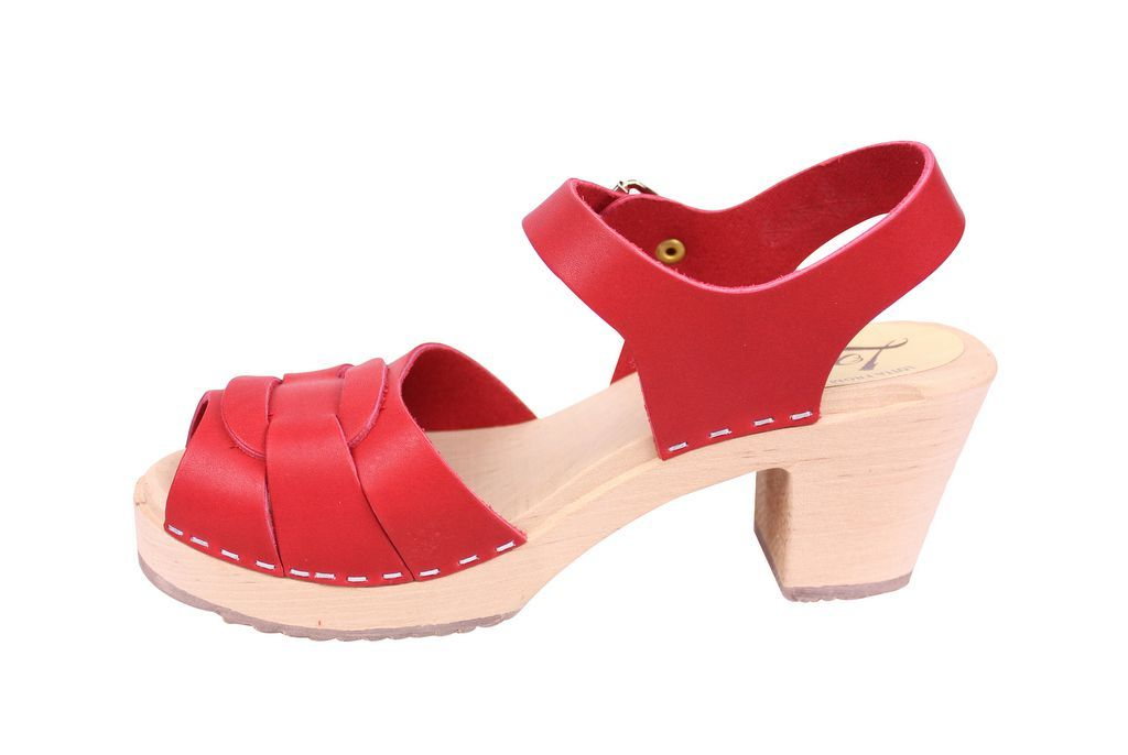 Lotta From Stockholm Peep Toe in Steel Red Leather Rev Side