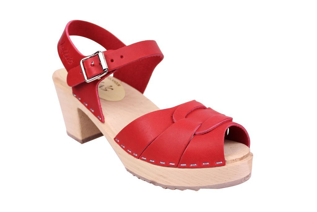 Lotta From Stockholm Peep Toe in Steel Red Leather Main