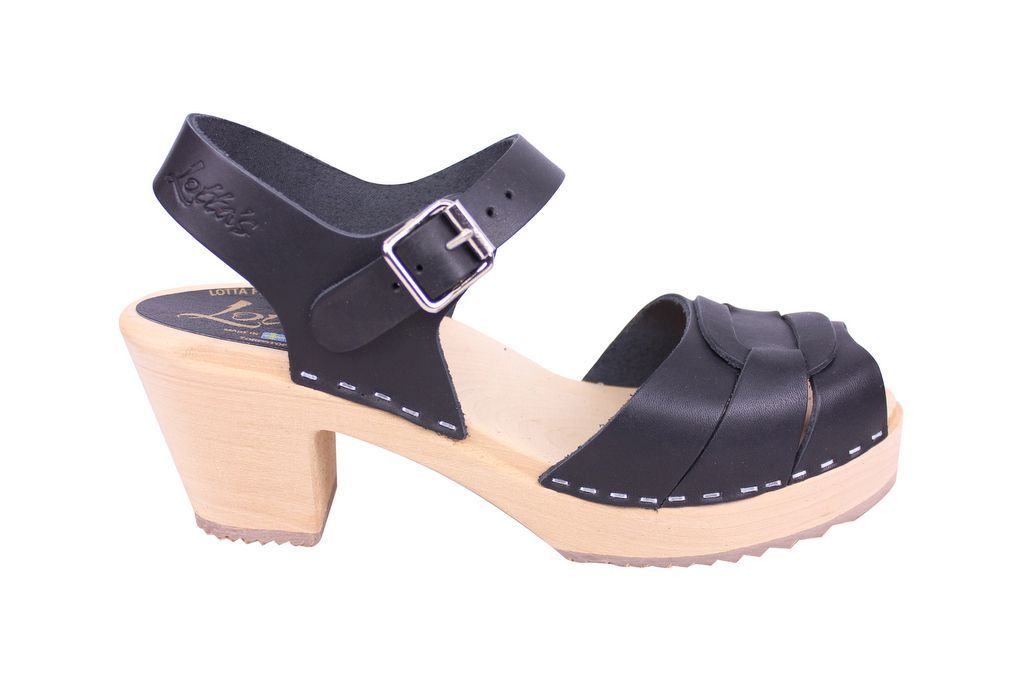 Lotta From Stockholm Peep Toe Clog in Black Leather Side
