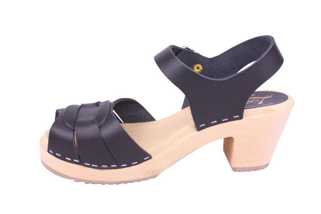 Lotta From Stockholm Peep Toe Clogs Black Leather Rev Side