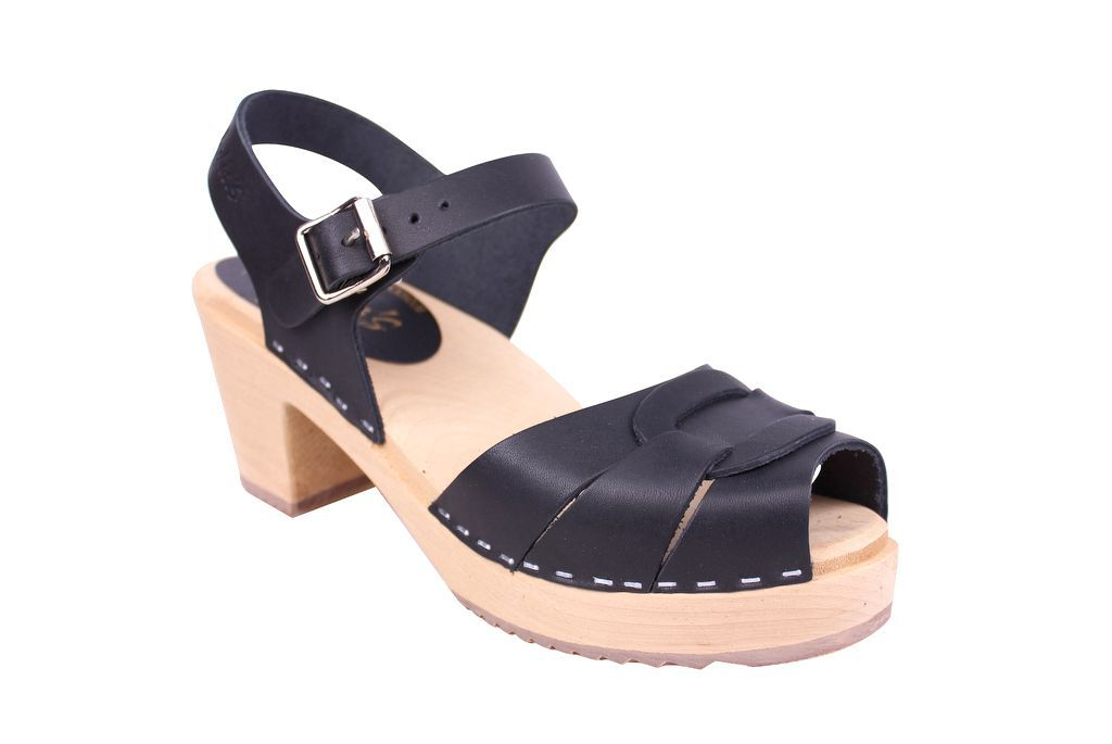 Lotta From Stockholm Peep Toe Clog in Black Leather Main
