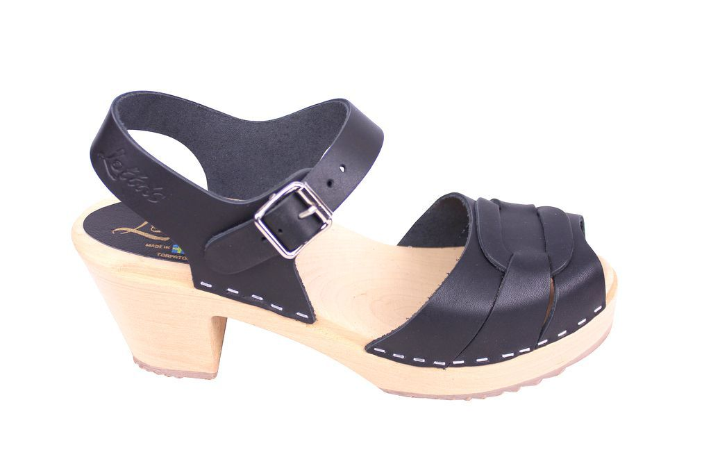 Lotta From Stockholm Peep Toe Clogs Black Leather Rev Side 2