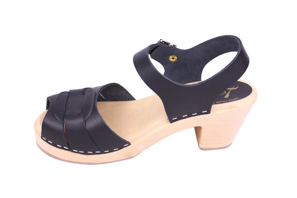 Lotta From Stockholm Peep Toe Clogs Black Leather Side 2