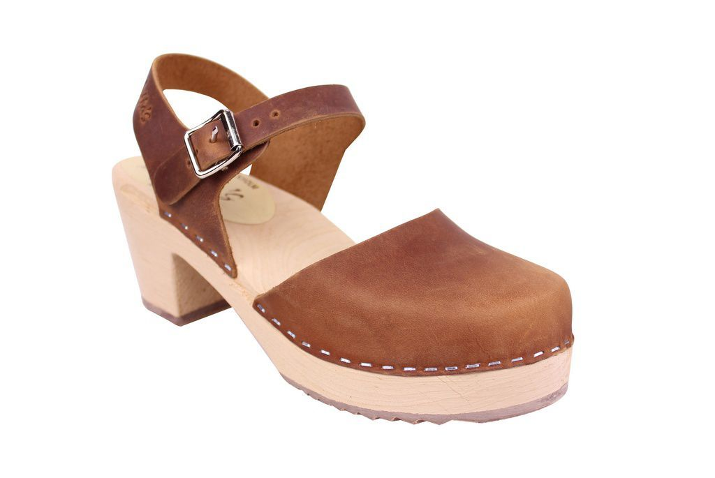 Lotta From Stockholm Highwood Clogs in Brown Oiled Nubuck main