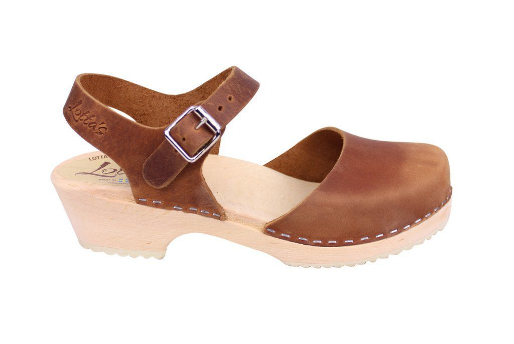Lotta From Stockholm Low Wood Clogs in Brown Oiled Nubuck side