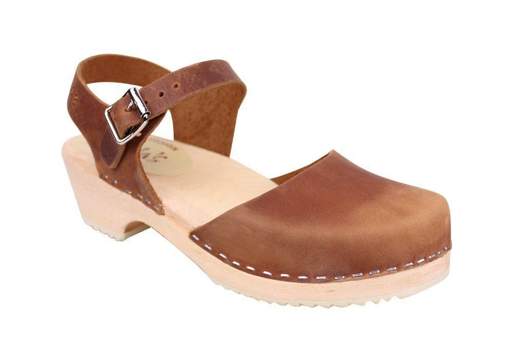 Lotta From Stockholm Low Wood Clogs in Brown Oiled Nubuck main
