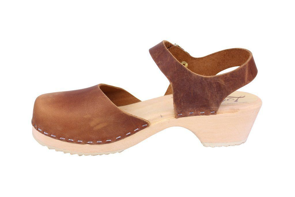 Lotta From Stockholm Low Wood Clogs in Brown Oiled Nubuck rev side