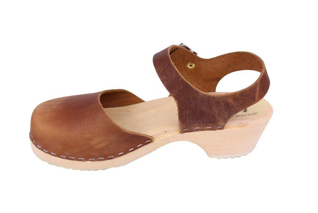 Lotta From Stockholm Low Wood Clogs in Brown Oiled Nubuck rev side 2