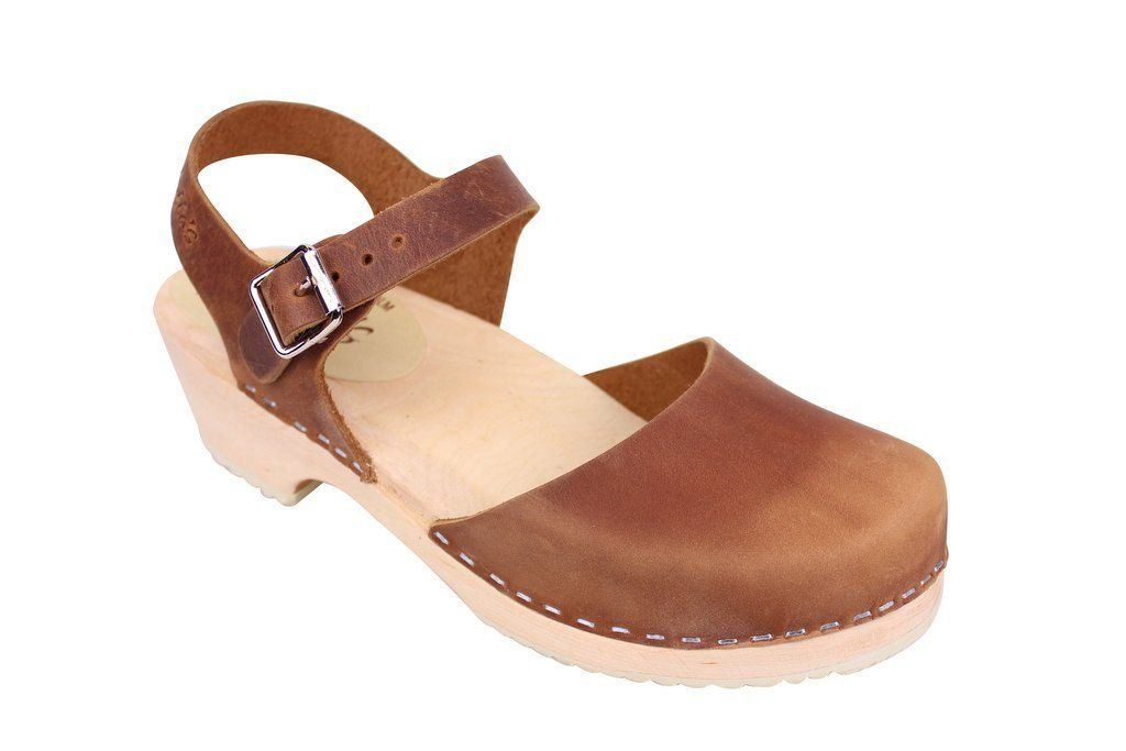 Lotta From Stockholm Low Wood Clogs in Brown Oiled Nubuck