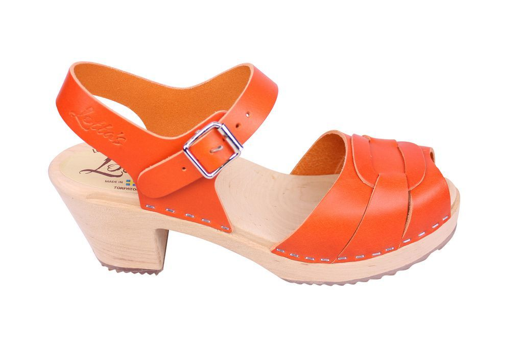 Lotta From Stockholm Peep Toe Clogs in Orange Leather side 2