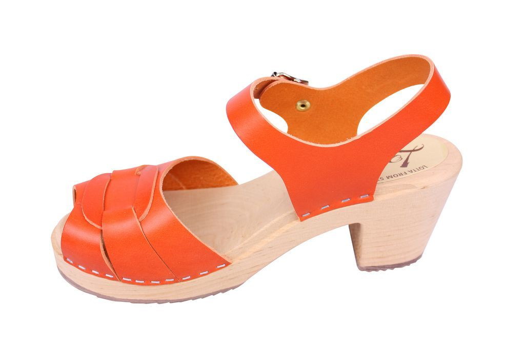 Lotta From Stockholm Peep Toe Clogs in Orange Leather rev side 2