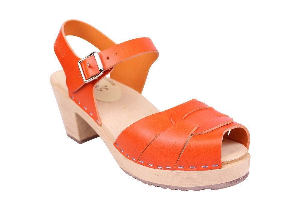 Lotta From Stockholm Peep Toe Clogs in Orange Leather main