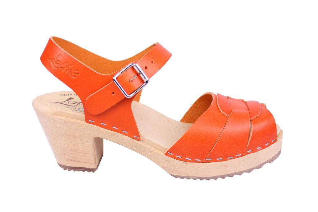 Lotta From Stockholm Peep Toe Clogs in Orange Leather side