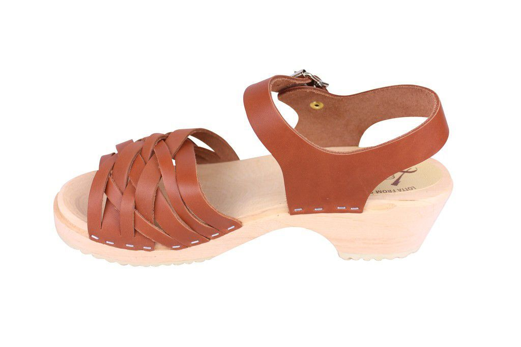Lotta From Stockholm Low Tan Braided Clogs Rev Side 2