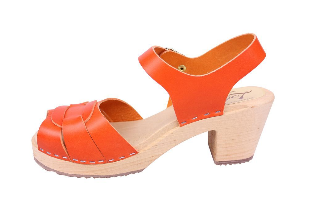 Lotta From Stockholm Peep Toe Clogs in Orange Leather rev side