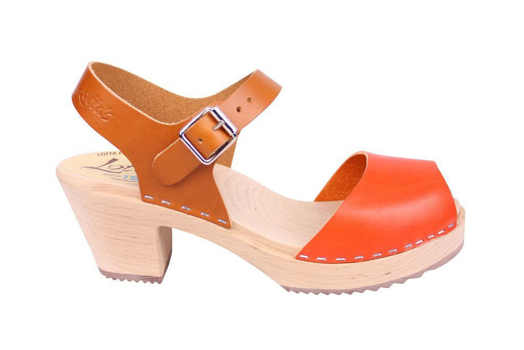 Lotta From Stockholm Highwood Open Clogs in Tan and Orange side
