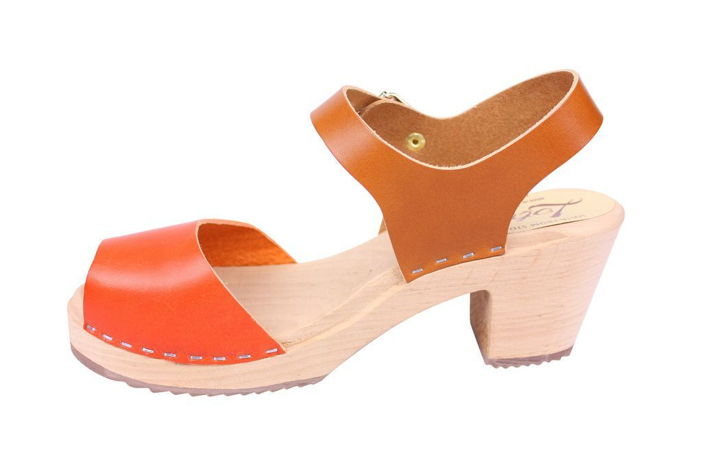 Lotta From Stockholm Highwood Open Clogs in Tan and Orange rev side