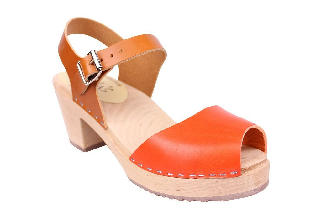 Lotta From Stockholm Highwood Open Clogs in Tan and Orange main