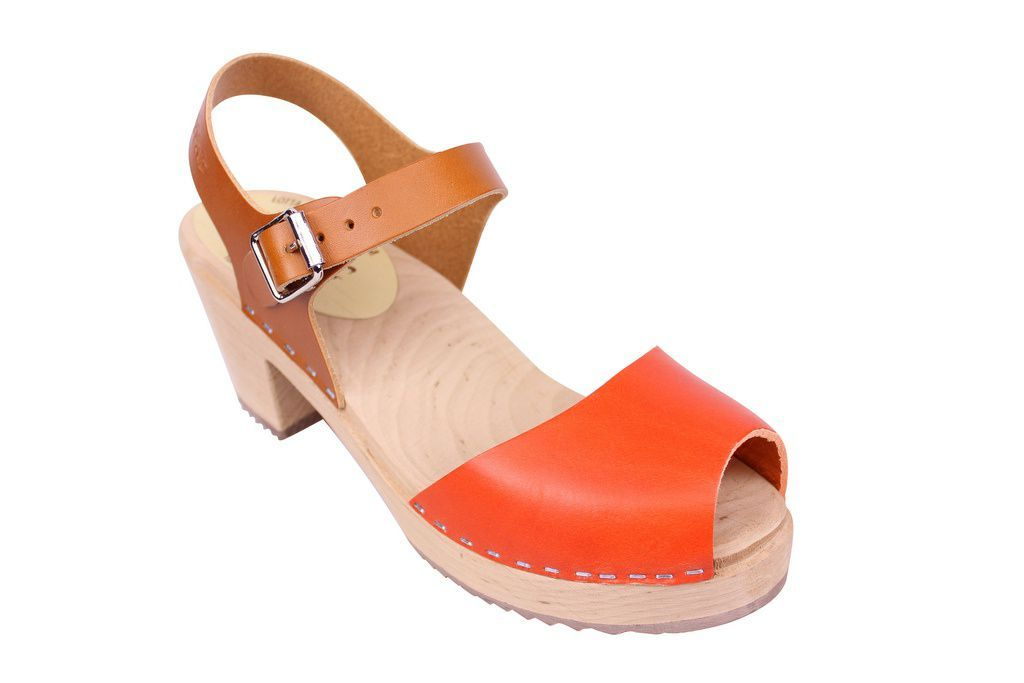 Lotta From Stockholm Highwood Open Clogs in Tan and Orange
