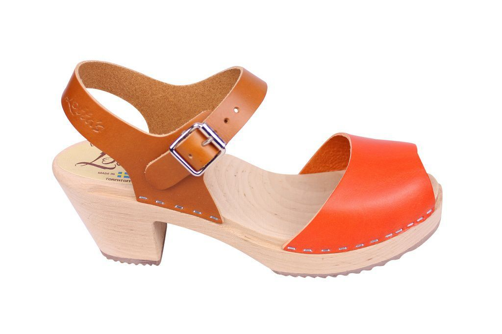 Lotta From Stockholm Highwood Open Clogs in Tan and Orange side 2