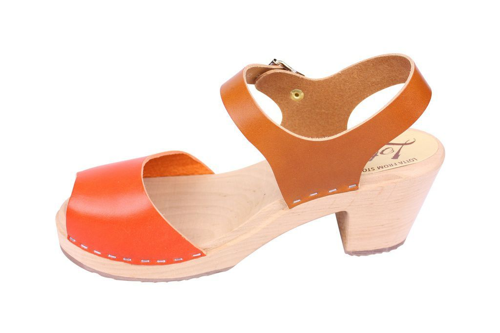 Lotta From Stockholm Highwood Open Clogs in Tan and Orange rev side 2