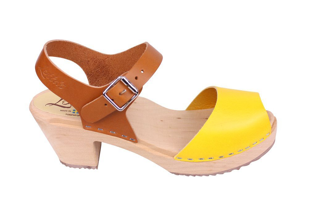 Lotta From Stockholm Highwood Open Toe Clogs in Tan and Yellow
