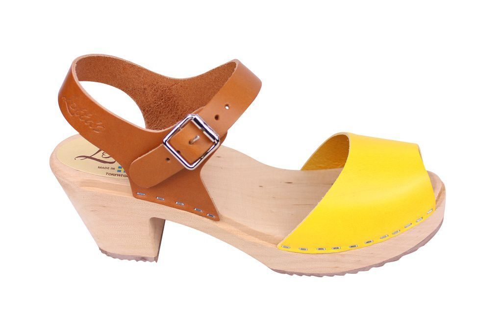 Lotta From Stockholm Highwood Open Toe Clogs in Tan and Yellow side 2