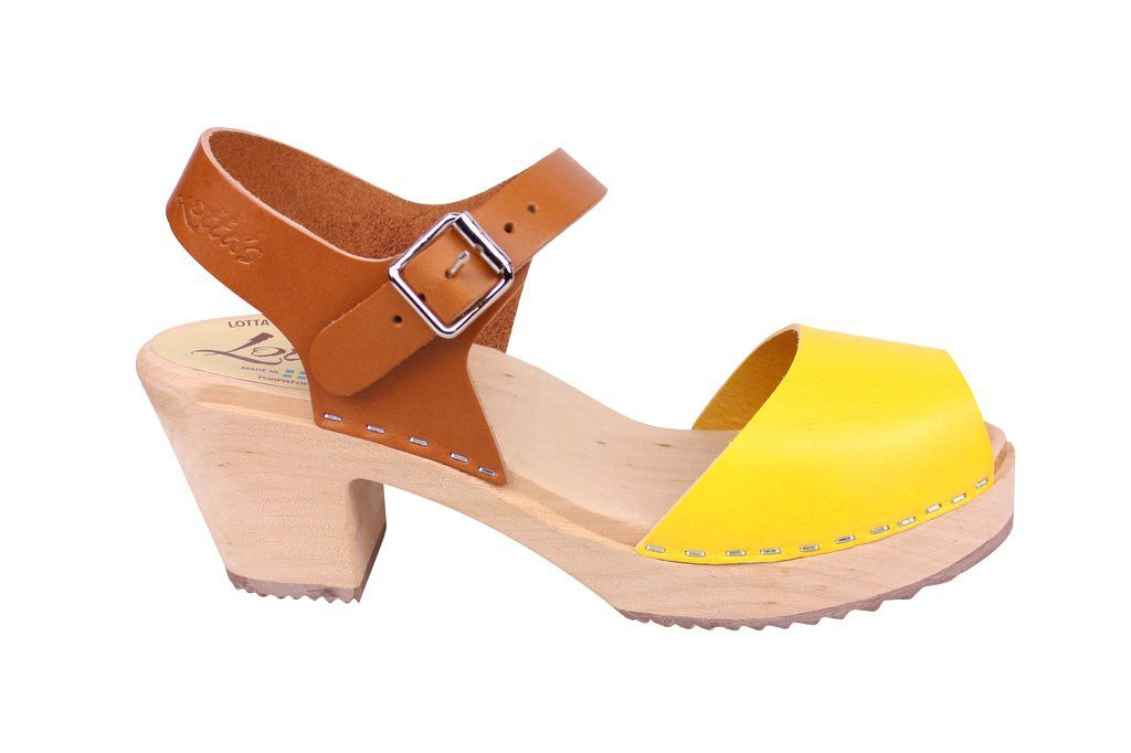 Lotta From Stockholm Highwood Open Toe Clogs in Tan and Yellow side