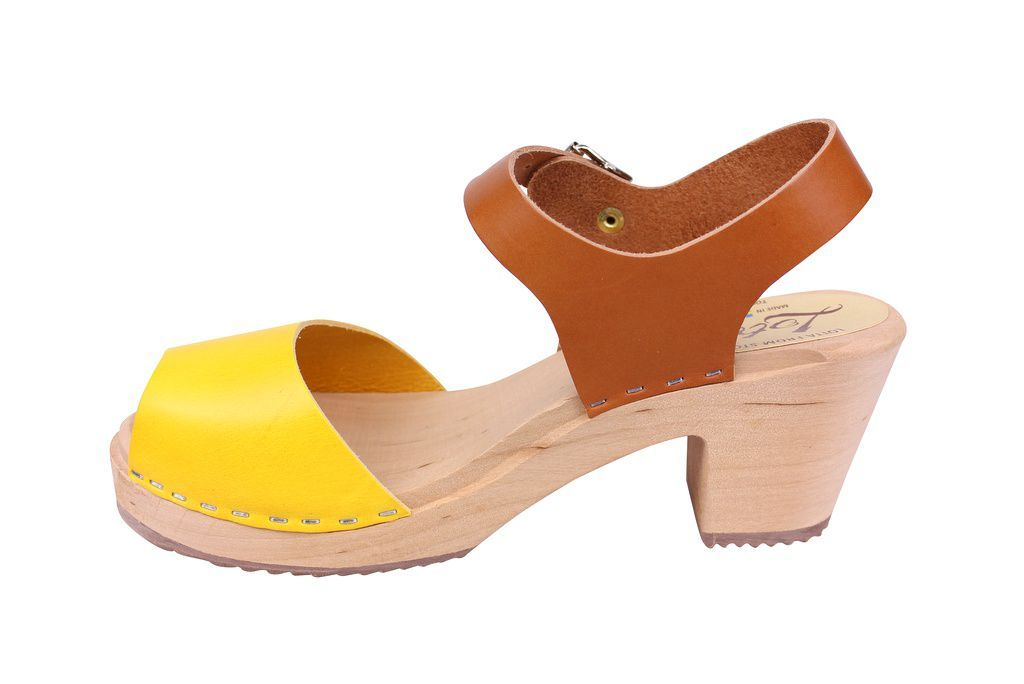 Lotta From Stockholm Highwood Open Toe Clogs in Tan and Yellow rev side