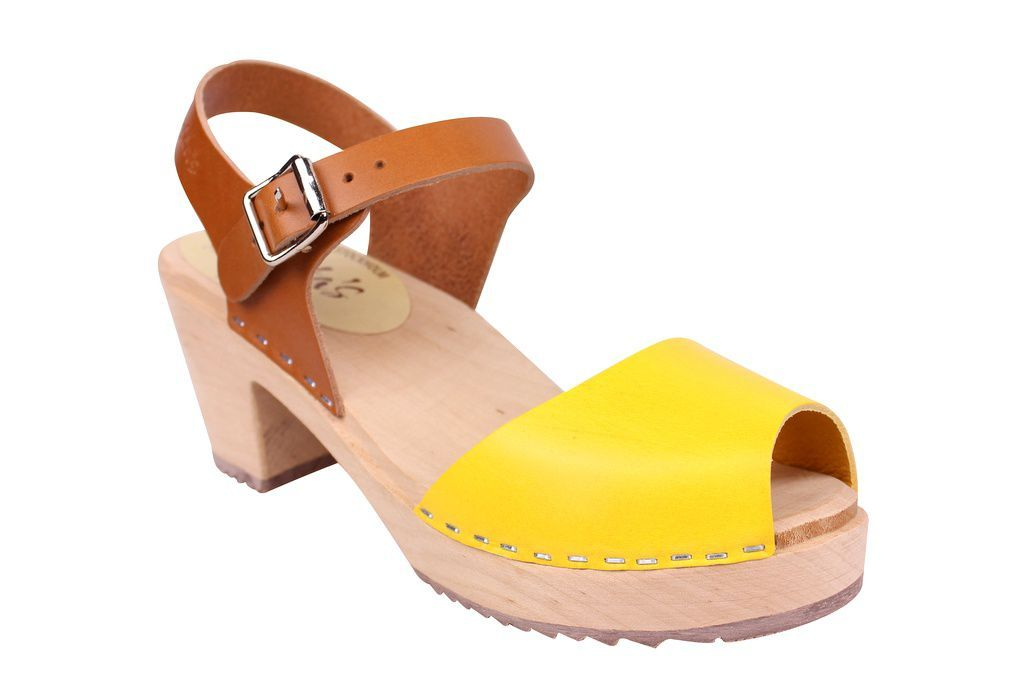 Lotta From Stockholm Highwood Open Toe Clogs in Tan and Yellow main