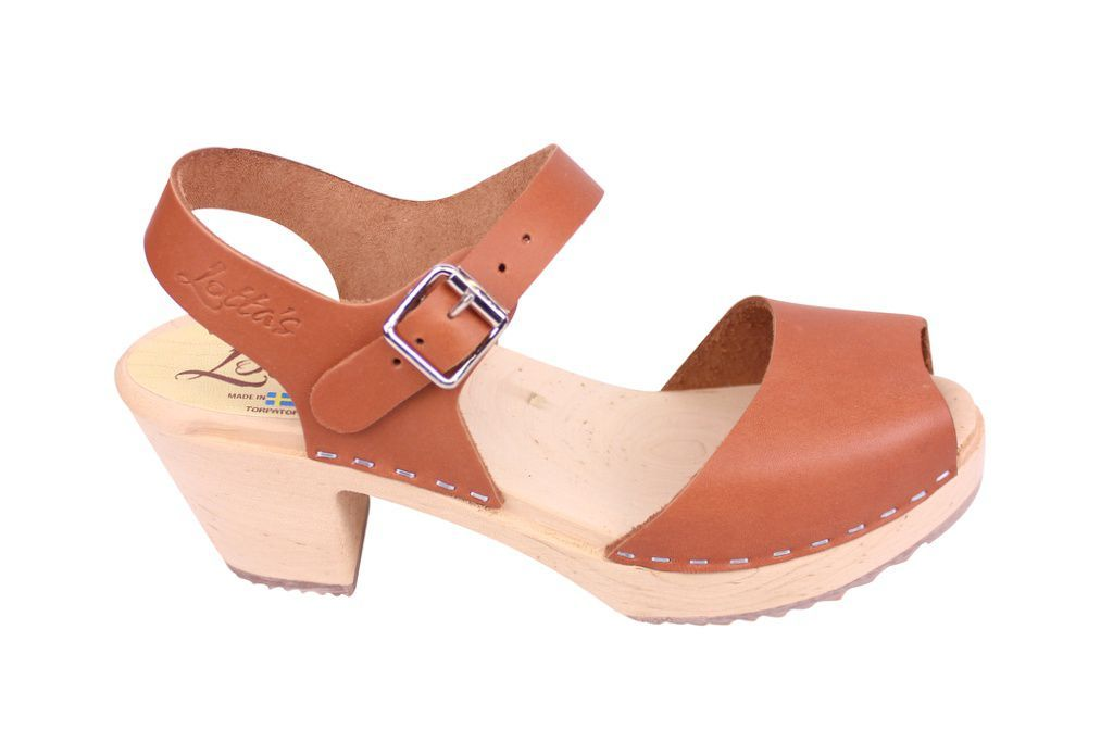 Lotta From Stockholm Highwood Open Clog in Tan Leather Seconds side 2